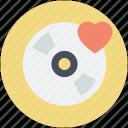 cd, dvd, heart, romantic music, romantic songs icon