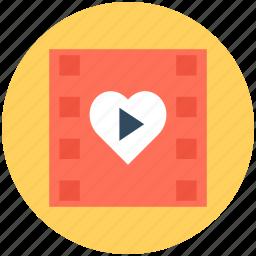 film strip, heart, movie strip, romantic movie, romantic video icon