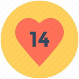14 february, date, day, heart, valentine day icon