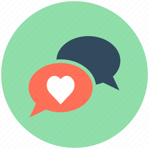 heart, love chat, love message, romantic chatting, speech bubble icon
