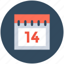 14 february, calendar, february calendar, valentine day, wall calendar icon