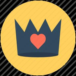 crown, favorite, heart, love, romantic icon