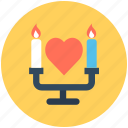 candle, candle holder, candlelight, candlelight dinner, heart icon