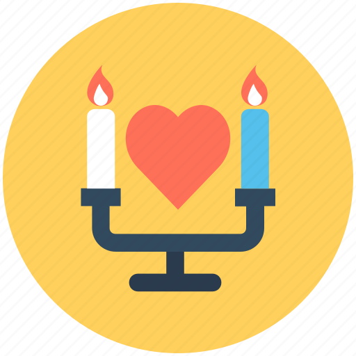 candle, candle holder, candlelight, candlelight dinner, heart icon