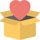 gift delivery box, gift packaging, heart box, heart in open box, valentine day gift icon
