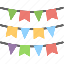 buntings, decoration element, party flags, pennants, small flags icon