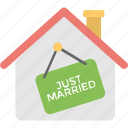 house, just married, just married hanging sign, just married house, just married mansion, newlywed icon