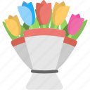 bouquet, flowers, mixed colored tulips, tulips, tulips bouquet icon