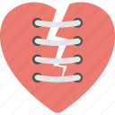 broken heart, brokenheartedness, feeling hurt, heartbreak, stitched up broken heart icon