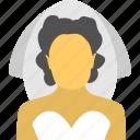 bridal, bride, marriage girl, matrimony, wedding icon