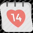 14 date, calendar, love day, schedule, valentine day icon