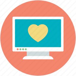 hearts, love chatting, lover chatting, monitor, romantic chat icon