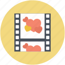 film strip, hearts, romance movie, romantic movie, romantic video icon