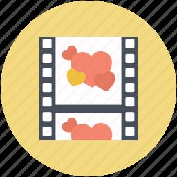 film strip, hearts, romance movie, romantic movie, romantic video icon