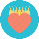 burning heart, heart in flames, heart on fire, passionate, romantic icon