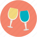 celebration, champagne glasses, cheers, toasting, wine glasses icon