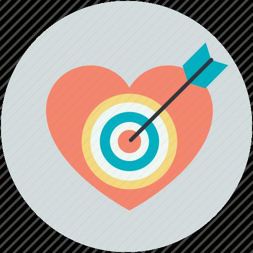 arrow, heart, heartbreak, hurt, love target icon