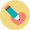 favorite, heart, love, pencil, romantic icon
