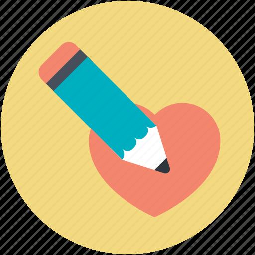favorite, heart, love, pencil, romantic icon