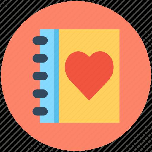 diary, heart, notebook, romantic novel, valentines diary icon