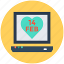 heart, laptop, love day, valentine day icon