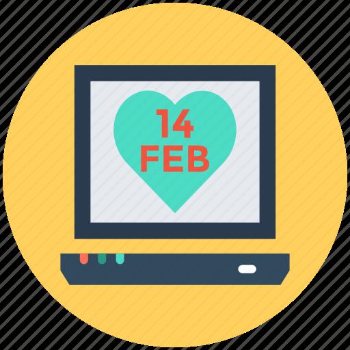heart, laptop, love day, valentine day icon