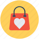 hand bag, heart sign, shopping bag, valentine gift, valentine shopping icon