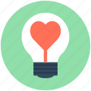 fall in love, heart, heart bulb, lightbulb, romantic lights icon