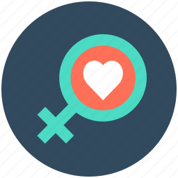 female gender symbol, heart, lovely, valentine, woman in love icon
