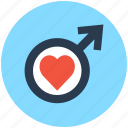 heart, lovely, male gender symbol, man in love, valentine icon