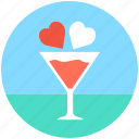 drink, hearts, hearts in glass, love cocktail, wine glass icon