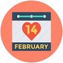 14 february, february calendar, heart calendar, valentine day, wall calendar icon