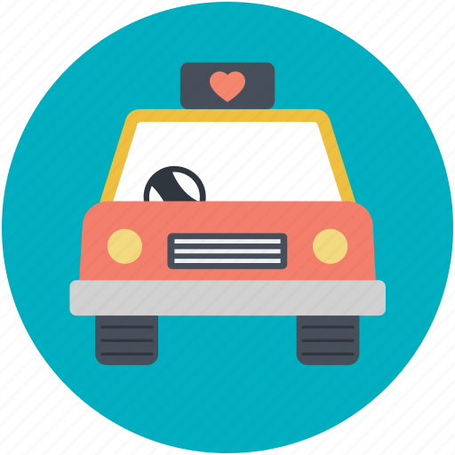 automobile, car, couple car, newly married, travel icon