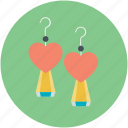 earrings, fashion accessory, girlish, heart shape, jewelry icon