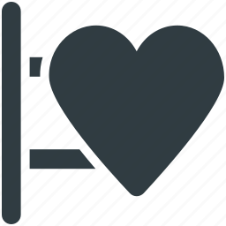 heart sign, info, information, message, signboard icon
