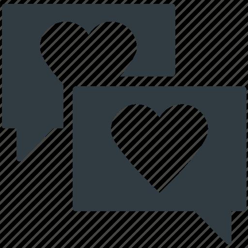 compassion, heart sign, lover's chat, romantic conversation, speech bubble icon