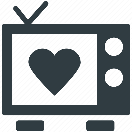 broadcasting, media, retro television, retro tv, screen heart icon
