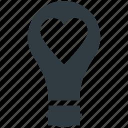 bulb, electricity, heart in bulb, lightbulb, romantic theme icon