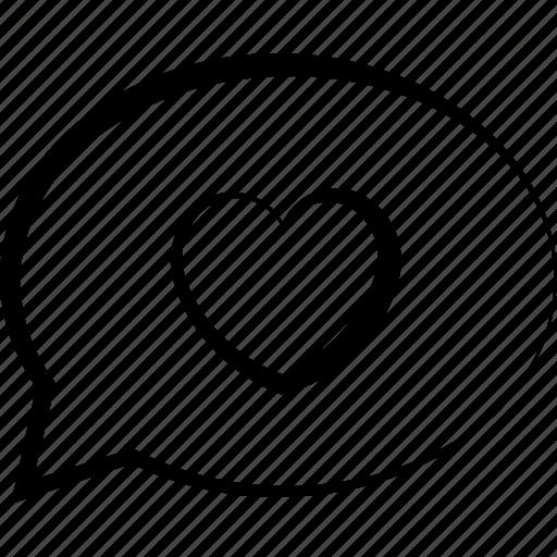 bubble, chat, communication, heart, love, speech, talk icon
