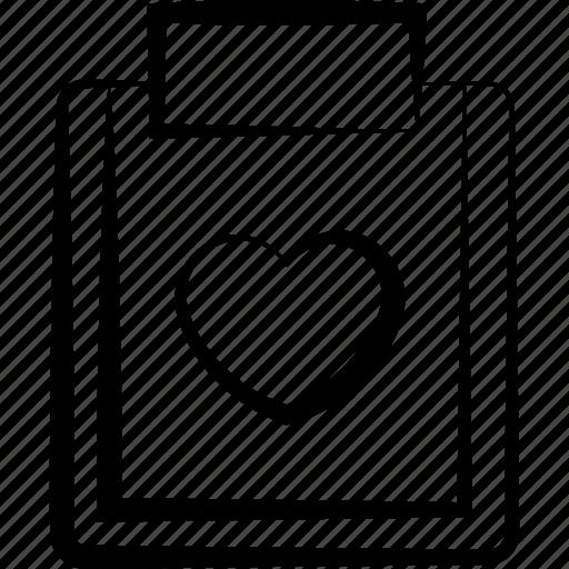 business, clipboard, data, document, file, love, paper icon