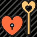 celebration, day, heart, key, lock, love, valentine