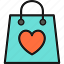 bag, celebration, color, decoration, heart, love, romantic icon
