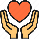 charity, day, donation, hand, heart, hold, love icon
