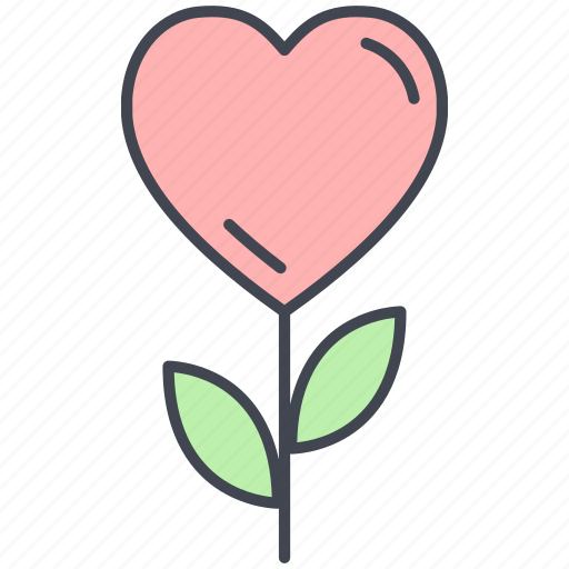 heart flower, love, love flower, lovely, valentine, valentine's day icon