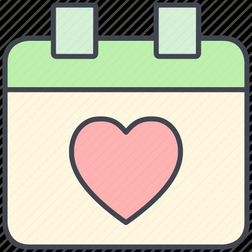 calendar, love, lovely, schedule, valentine, valentine's day icon