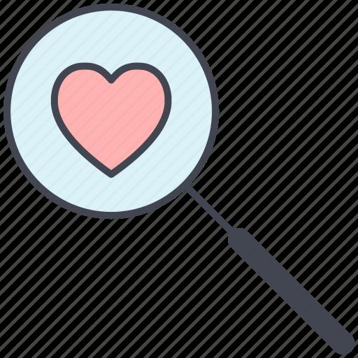 love, lovely, magnify, valentine, valentine's day icon