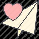 letter, love, love letter, love plane, papper plane, valentine, valentine's day icon