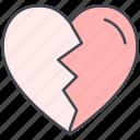 broken heart, love, lovely, parting, valentine, valentine's day icon