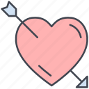 arrow, cupids arrow, heart, love, lovely, valentine, valentine's day icon