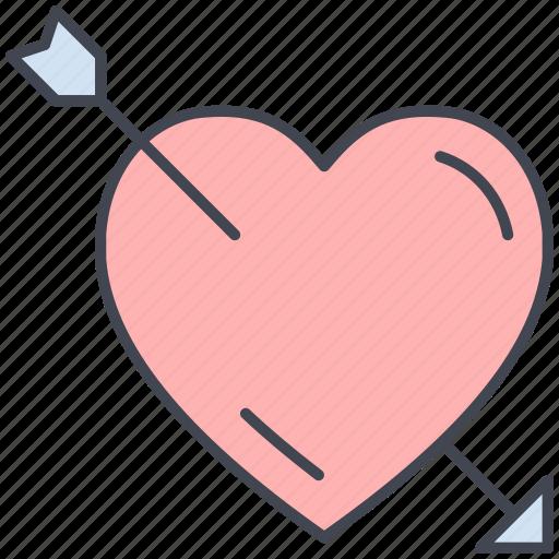 arrow, cupids arrow, heart, love, lovely, valentine, valentine's day icon